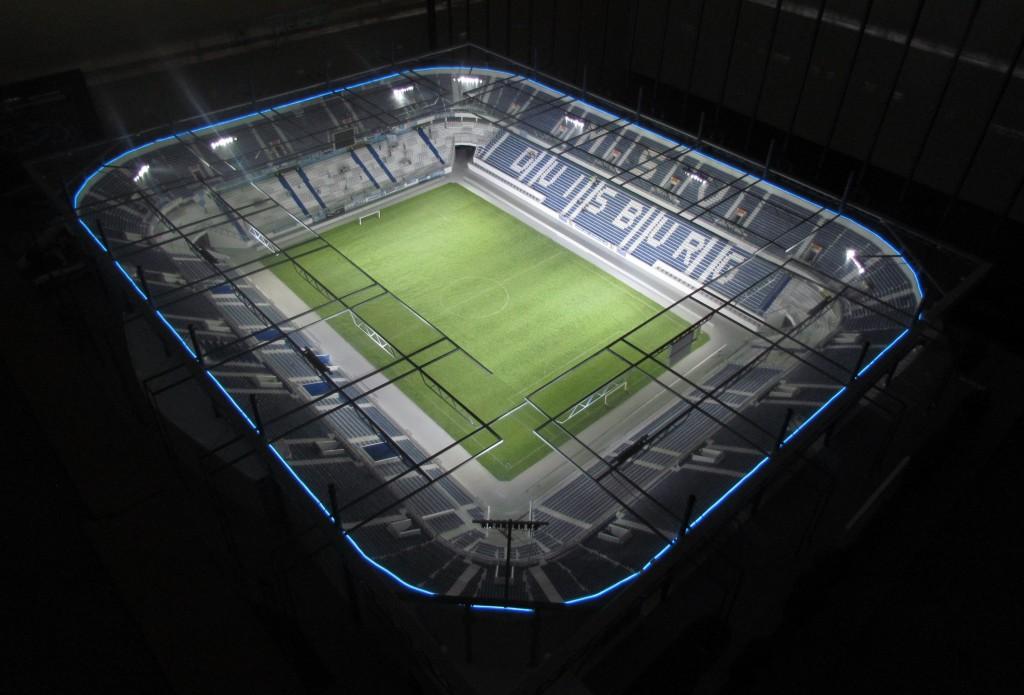 Eindrucksvoll: Die MSV-Arena ist bereits fertig. Foto: Stadionmodellbau Tribian