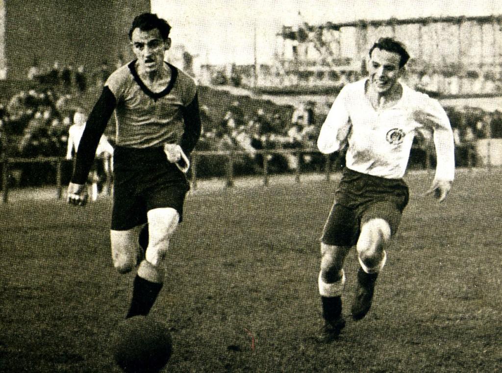 Harald Stender (rechts) im Einsatz: dem athletischen rechten Läufer lief kaum ein Gegenspieler davon. Foto: FC St Pauli. Das Buch