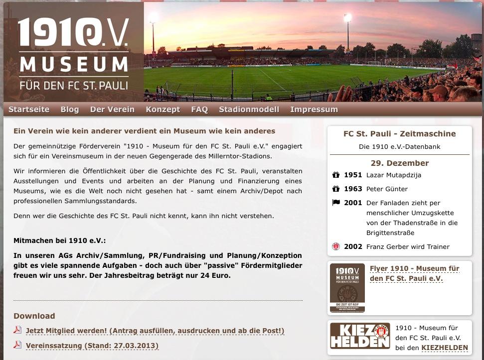 """Die 1910 e.V.-Website mit """"Zeitmaschine"""" - hier der 29. Dezember"""