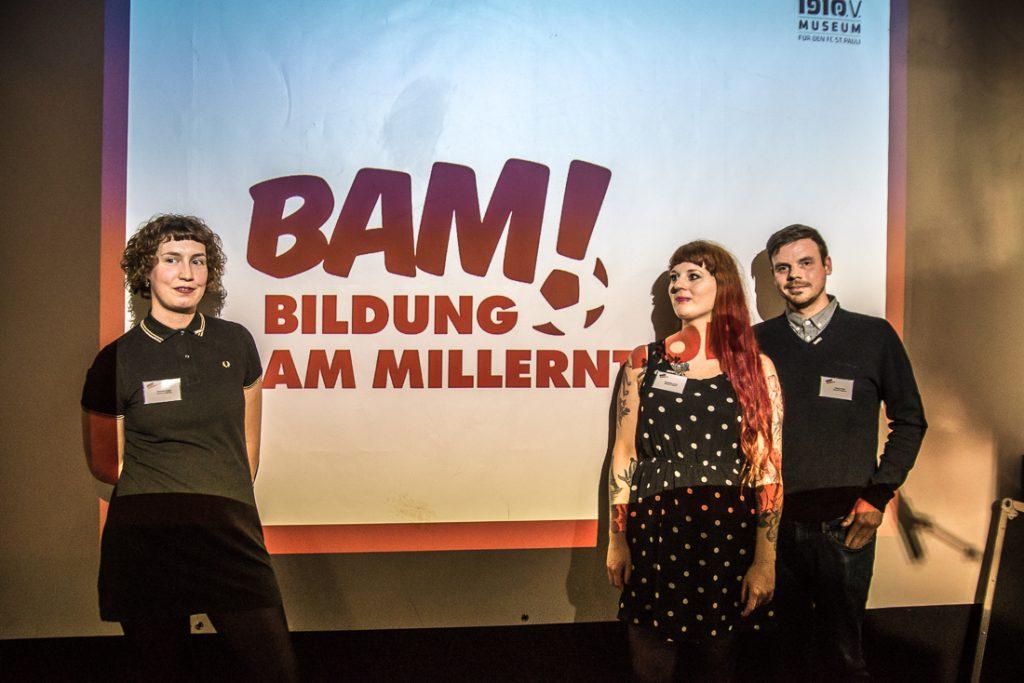 Das BAM!-Team, von l.n.r.: Nathalie Kegel, Projektleitung, Franziska Lerch, Schulkooperationen, und Fabian Fritz, pädagogische Leitung| Foto Ariane Gramelspacher, Arigrafie