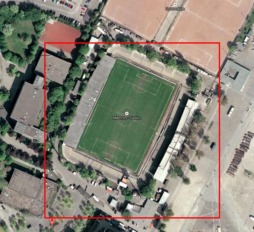 Millerntor von oben laut Google Maps am 9. September 2013, 7:30
